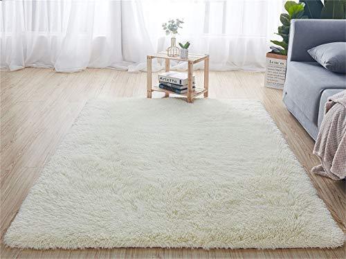 Tapis d'intérieur modernes ultra doux tapis de salon moelleux adaptés aux enfants chambre décor à la maison tapis rectangulaire (80X160cm, blanc)