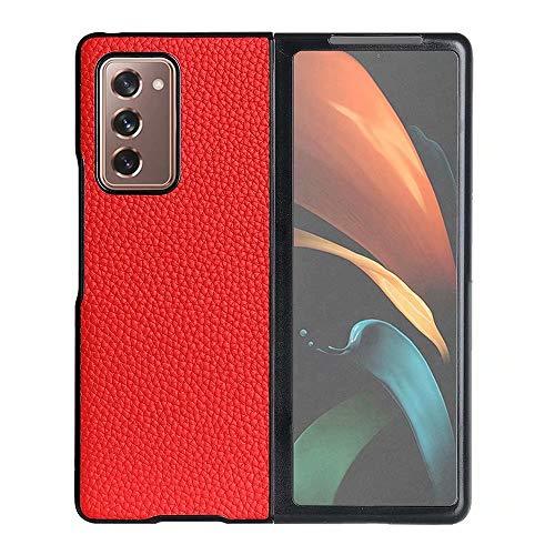 USPANDI Copertura for Galaxy Z Fold2 Cover Posteriore Completa Fit Cassa del Cuoio Genuino for Samsung Galaxy Z Fold 2 5G (Color : Red)