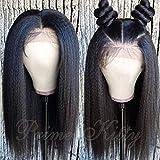 "Kinky Straight Full Lace Human Hair Wigs Pre Plucked and Bleached Knots Yaki Straight Human Hair Wig 9A Brazilian Virgin Hair Wigs Glueless Full Lace Wigs Human Hair Italian Yaki Wig 14"""