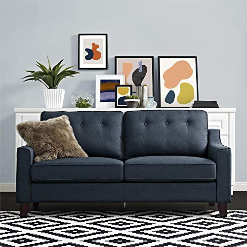 REALROOMS Cherri Mid-Century Modern Sofa, Living Room Couch, Blue