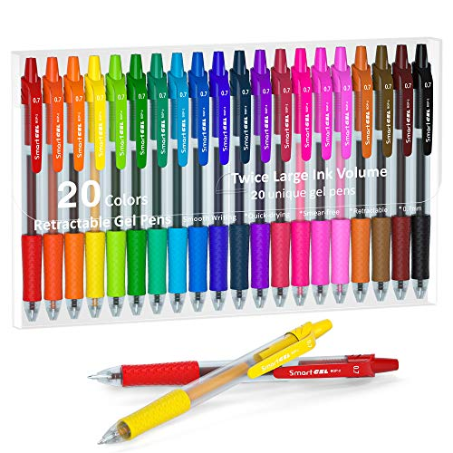 Colored Gel Pens, Lineon 20 Colors Retractable Gel Ink Pens with Grip, Medium Point(0.7mm) Smooth Writing Pens Perfect for Adults and Kids Journal Notebook Planner, Writing in Office and School