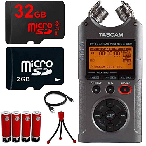 Tascam KC200 DR-40 - Portable Home Digital Audio Recorder Bundle with 32GB Memory Card, 4X Rechargeable AA Batteries with Charger and Flexible Mini Table-top Tripod