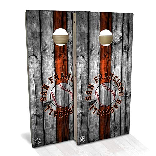 Skip's Garage San Francisco Themed Baseball Cornhole Board Set - Backyard 2x4 (24' by 48' Regulation Size) - Includes 2 Boards and 8 All Weather Bags