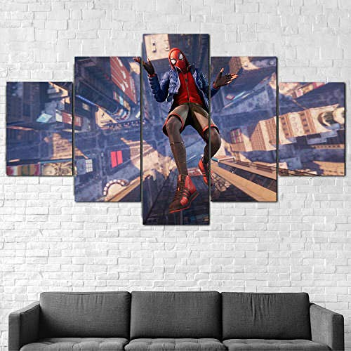 Cuadro En Lienzo 5 Piezas Decor Pared 5 Panel Pintura En Lienzo Hd Impreso Arte Imágenes Modernas Carteles Marco Xxl Tejido No Tejido Artística Imagen Gráfica Héroe Spide-Man Miles Morales 150X100