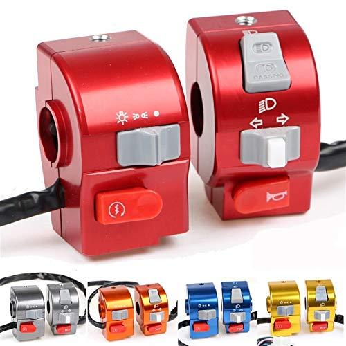 Interruptor del manillar de la motocicleta 7/8' 22 mm Luz de control del manillar Cuerno interruptor, fácil de instalar (Color : Blue)