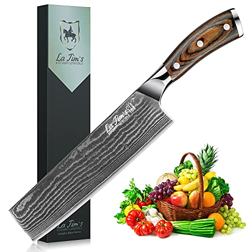 Latim's Professional Nakiri Knives 8 inch,Damascus Kitchen Knives Made of Japanese VG-10 Stainless Steel with Unique Pattern,Ultra Sharp Blade and Ergonomic Handle