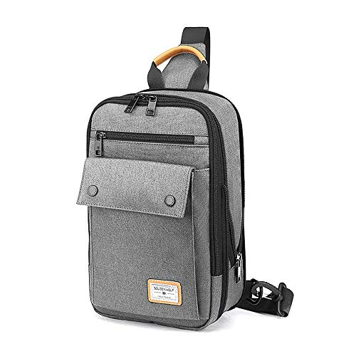 Canvas Chest Sling Bag for Men - Small Shoulder Backpack Crossbody Casual Daypack Gym Pack (Grey)