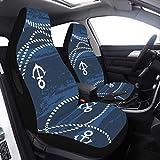 Mesllings 2 Stück Autoschonbezüge Sitze nautische Seeseile und Anker blau Babysitzbezüge für Mädchen kompatibel mit Airbags universelle Passform für Autos, LKWs und SUVs Autositzbezüge