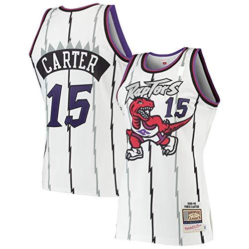 YARUODA Jersey de baloncesto de madera dura blanca # 15 de manga corta # Name? JerseyBasketball Classics Jersey Edición Icono