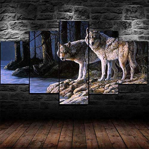 CHANGJIU-Cuadro sobre Lienzo- 5 Piezas- Impresión En Lienzo- Póster Wolf Wolves Aimal Snow Forest -Cuadro De Pintura De Arte Moderno Decoración Oficina O Dormitorio