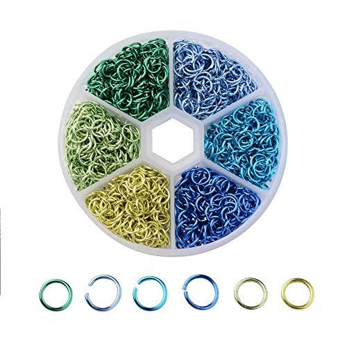 Mix 6 Colores 6mm Conector Anillos Alambre de Aluminio Abierto Anillo de Salto para Uñas Arte Joyería Llavero Sobre 1050pcs (Multicolor)