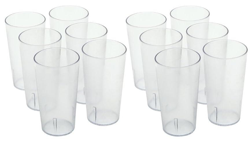 公爵夫人上級スロベニアChefLand Stackable Restaurant Beverage Cup Break-Resistant Plastic Tumbler, 470ml, Clear, 12-Pack