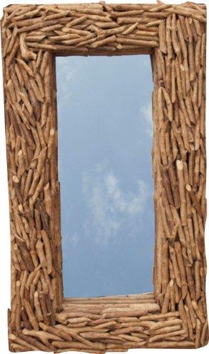 Guru-Shop Driftwood Mirror, Espejo decorativo con piezas de Driftwood en marco - Espejo colgante 90x50 cm, Marrón, Espejo