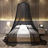 Mengersi Mosquito Net Bed Canopy Black,Large Bed Hanging Curtains from Ceiling Bed Mesh Fit for Twin,Full,Queen,King Size Bed,Quick Easy Installation-Garden,Camping,Travel,Bedroom Accessories