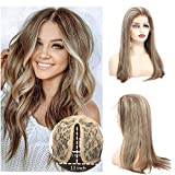 Pre Plucked T Part Lace Front Wigs With Baby Hair Glueless Remy Straight Human Hair Wigs Ombre blonde With Brown 150% Density For Black/White Women 14 inches