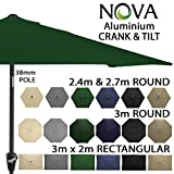<span class='highlight'><span class='highlight'>Nova</span></span> Outdoor Living Garden Parasol - Aluminium Metal Outdoor Patio Umbrella Sun Shade with Crank & Tilt Function 2.4m 2.7m 3m 3x2m in 6 Colours with 38mm Pole, Green, x 2m Rectangular
