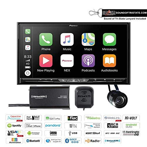 Pioneer AVIC-W8500NEX in Dash 6.94' Navigation DVD Receiver with SiriusXM SXV300V1 Satellite Radio Tuner and Antenna and a Backup Camera and a Sound of Tri-State Lanyard Bundle (Renewed)