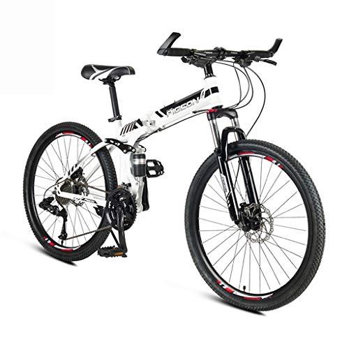 LYRWISHPB 24/26 Zoll leichte Mini Folding Bike Outroad Mountainbike Kleiner bewegliches Fahrrad Student Mountainbike mit 24-Gang-Doppelscheibenbremsen (Color : White, Size : 26inch)