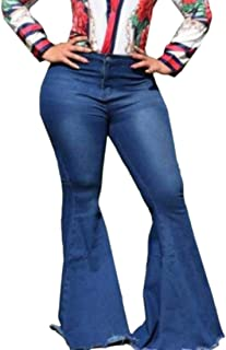Women Casual High Waist Flare Bell Bottom Denim Jeans Pants