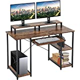 Computer Desk 46' Gaming Writing Desk with Keyboard Tray/Monitor Stand Shelf/Storage Shelves/CPU Stand for Home Office