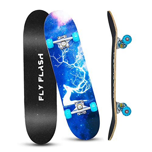 FlyFlash Skateboard, 31'x 8' Complete Standard Skate Boards for Beginner, 9 Layer Maple Double Kick Deck Skateboards for Extreme Sports & Outdoors…