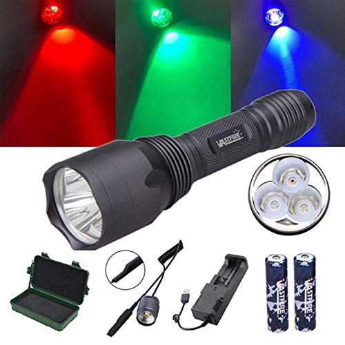 VASTFIRE Coyote Hunting Deer Blood Tracking Lights UV Red Blue Blacklight Green Flashlight with 18650 Battery and Pressure Switch (Blood Tracker Light)