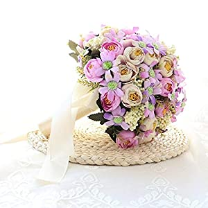 Silk Flower Arrangements weichuang Wedding Bouquet Artificial Natural Rose Wedding Bouquet with Silk Satin Ribbon Pink White Champagne Bridesmaid Bridal Party Holding Flowers