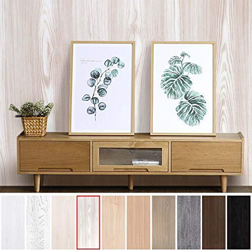 KINLO Klebefolie Holz beige-weiß 5x0.61M Schutzfolie ANTI-ÖL Dekofolie für Schrank die Möbel verschönern Aufkleber Wasserdicht für Tisch
