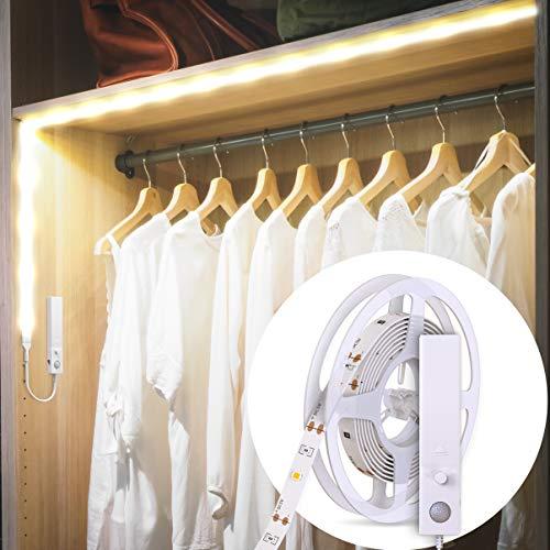 B.K.Licht LED Band mit Bewegungsmelder I Schrank - Beleuchtung I 1m LED Stripe I batteriebetrieben I Lichterkette I Silikonbeschichtung, LED Lichtleiste I weiß I selbstklebend