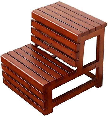 Taburete Sólida plataforma de madera Escalera, Familia impermeable escaleras de tijera de dos pasos de seguridad for escaleras Jardín Plataforma / Escalera del taburete Banco ( Color : Brown )