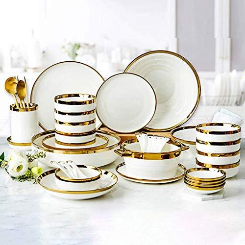 Platos de cena elegantes, juegos de cena de cerámica, juego de vajilla de porcelana Phnom Penh de lujo ligero de alta gama |Cuenco, cuchara y plato de cereales para regalos de boda y inauguración de