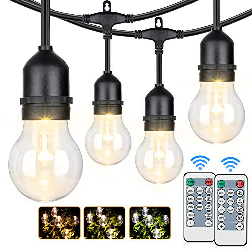 3-Color in 1 Outdoor LED String Lights with Remotes, 48FT Dimmable LED Edison String Light Waterproof, Warm White Daylight White Shatterproof Patio Light String for Café Bistro Pergola Backyard Garden