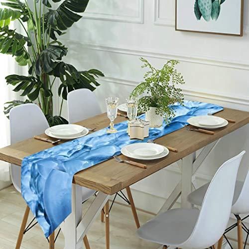 Jack16 Camino de mesa de hielo congelado en frío, de lino, decoración para el hogar, fiestas, decoración de vacaciones, para cocina, comedor, café, 33 x 70 pulgadas