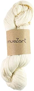 Muezart 100% Natural Spun Yarn | Eri Peace Silk Yarn | Skein of Undyed Yarn for Knitting, Weaving and Crocheting | 60/2