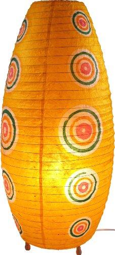 Guru-Shop Corona Lokta Papier Tischlampe/Tischleuchte Retro 60 cm, Gelb, Lokta-Papier, Farbe: Gelb, Bunte, Exotische Tischlampen