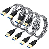 Besgoods 4-Pack USB 3.0 A to A Cable - 3FT USB to USB Male to Male Cable Short Braided Double End USB Cord Compatible for DVD Players, Hard Drive Enclosures, Laptop Cooler and More – White