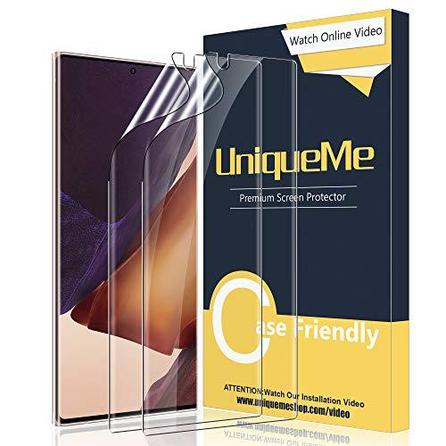 UniqueMe [2 Stück] Schutzfolie Kompatibel mit Samsung Galaxy Note 20 Ultra 5G, Blasenfreie [Klar HD] Folie TPU Bildschirmschutz Samsung Note 20 Ultra 5GFingerabdruck-ID unterstützen [Soft] Bildschirmfolie