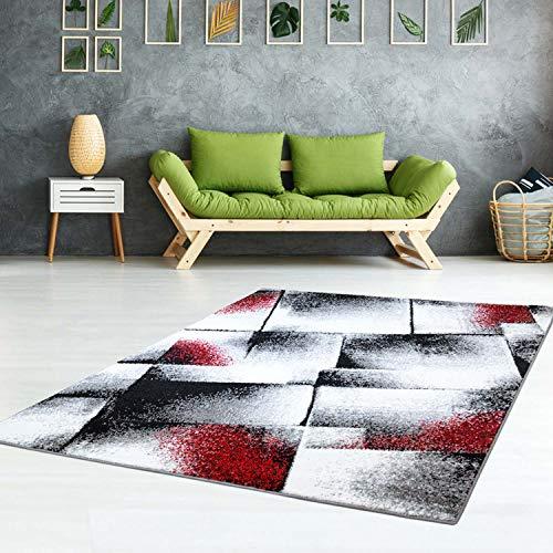 Teppich-Läufer Modern Moda Flachflor Kurzflor Konturenschnitt Handcarving Meliert Rot für Wohnzimmer; Größe: 80x150 cm
