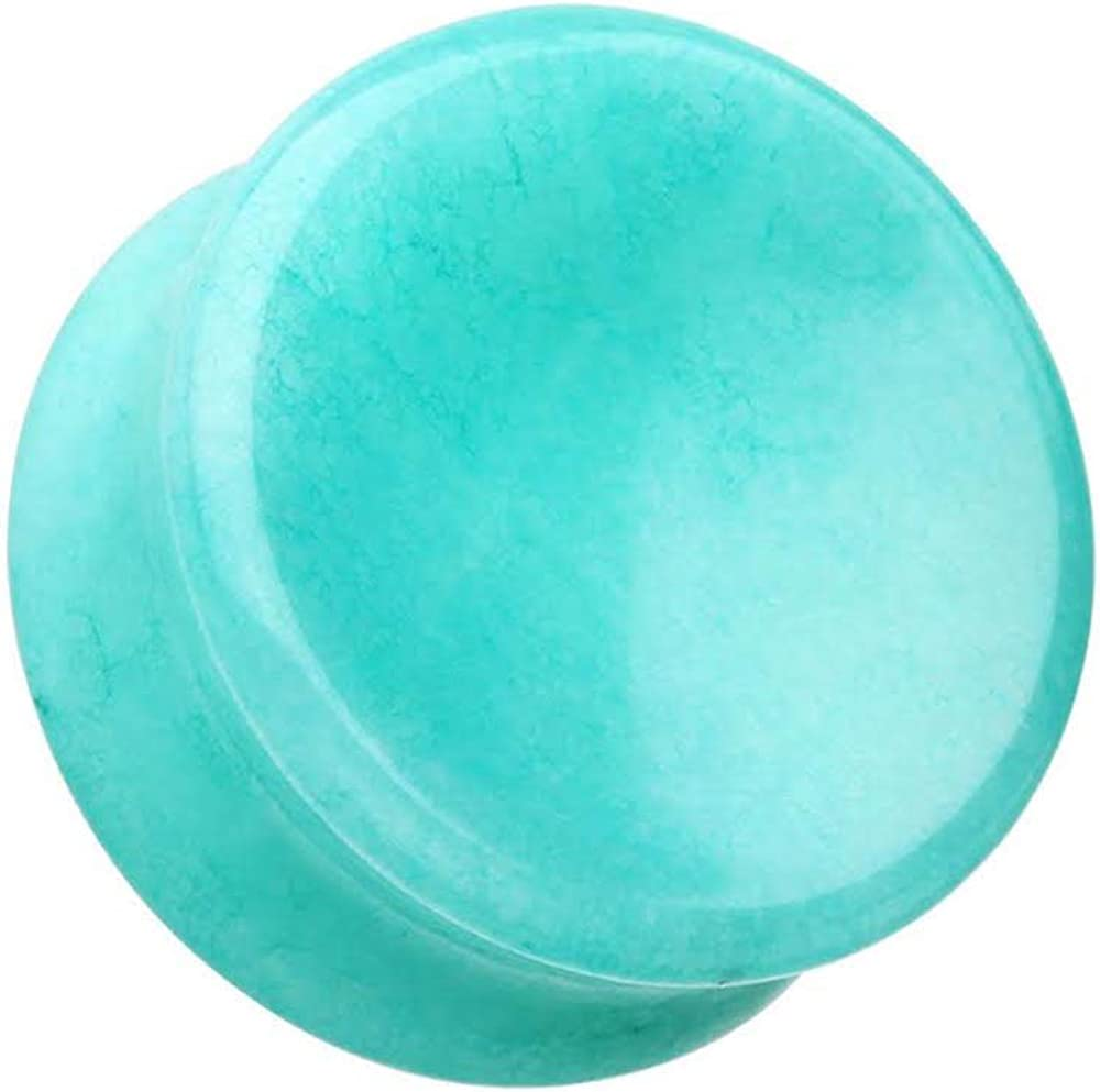 Covet Jewelry Concave Amazonite Natural Stone Double Flared Ear Gauge Plug
