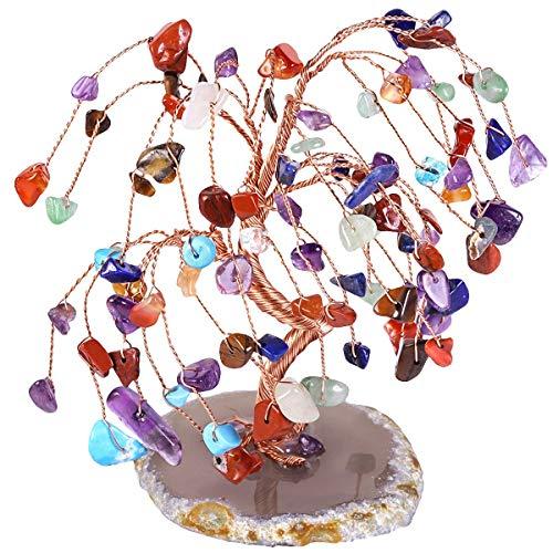 KYEYGWO - Árbol de plata de cristal con base de ágata, pulido de árbol de cristal Feng Shui Bonsái, alambre de cobre, árbol de piedras preciosas, decoración del hogar