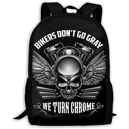 Kimi-Shop Unisexe Sac à Dos Adulte Bikers Don 'T Go Grey We Turn Chrome Bookbag Travel Bag Cartables Cartable pour Ordinateur Portable pour Hommes et Femmes