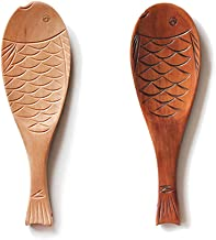 """2Pcs Wooden Rice Paddle Fish Shaped Wooden Rice Serving Spoons Kitchen Wooden Rice Spatula Easy To Clean Rice Spoons 7.87""""..."""