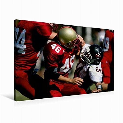 CALVENDO Premium Textil-Leinwand 90 cm x 60 cm quer, Angriff | Wandbild, Bild auf Keilrahmen, Fertigbild auf echter Leinwand, Leinwanddruck: Packende Welt des American Football Sport Sport