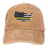 Dad Cap Mapa Americano Bandera De EE. UU. Bandera De Línea Amarilla Delgada Hombres Gorra De Béisbol De Hip Hop Deportes Al Aire Libre Denim Verano Sombrero De Papá Sombrero De Va