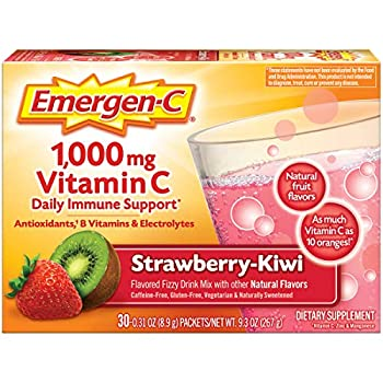 Emergen-C 1000mg Vitamin C Powder with Antioxidants B Vitamins and Electrolytes Vitamin C Supplements for Immune Support Caffeine Free Fizzy Drink Mix Strawberry Kiwi Flavor - 30 Count