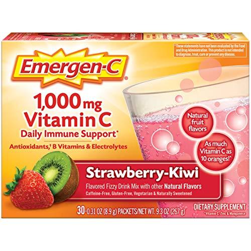 Emergen-C 1000mg Vitamin C Powder Strawberry-Kiwi 0.31 Ounce (Pack of 30)