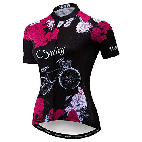 JPOJPO Damen Radtrikot Sommer Radsport Trikot Bekleidung Rennrad Kleidung Shirts Kurzarm Fahrrad Tops Schädel