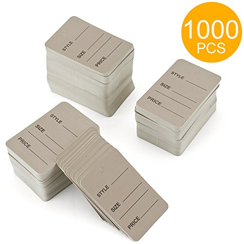 Metronic Price Tags, Perforrated Merchandise Marking Tags, One-Part Paper Tags, 1-1/4 x 1-7/8 - Inches Marking Tags, Pack of 1000 (Grey)
