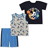Disney Boy's 3-Pack Mickey Mouse The 1 and Only Tee, Sleeveless Shirt and Mesh Short Set, Blue, Size 12M