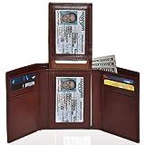 Leather Wallets for Men Smart Front Pocket Slim Trifold RFID Blocking Wallet